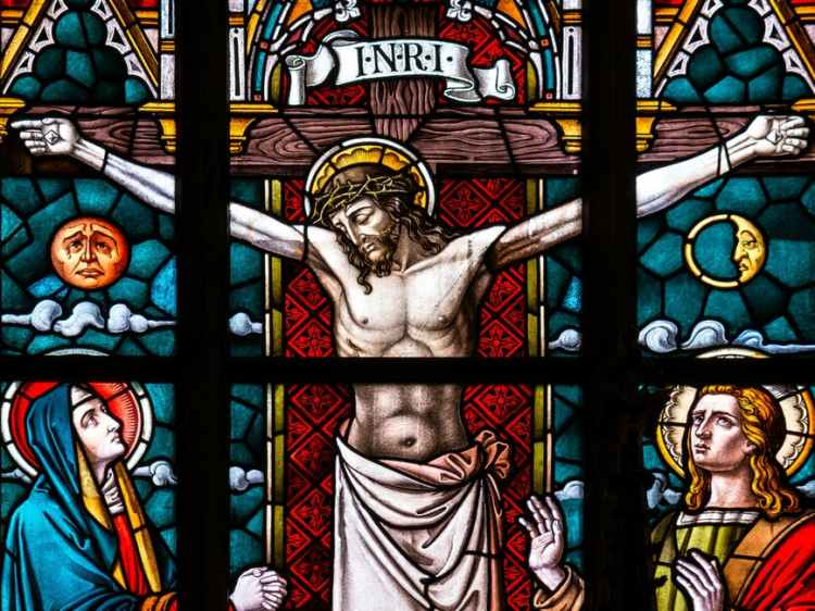 crucifix stained glass