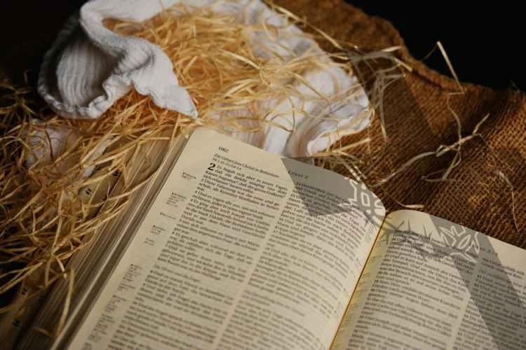 bible in manger