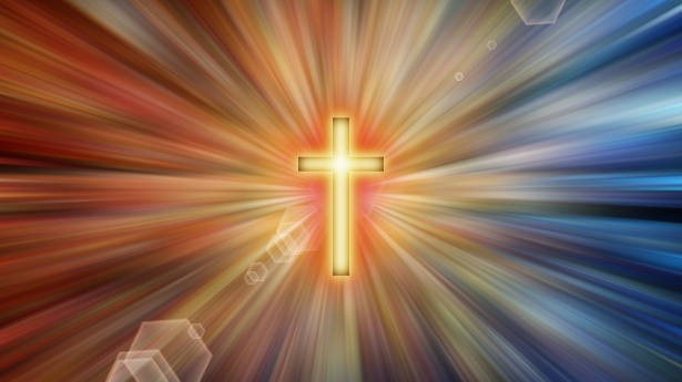 cross with light beams