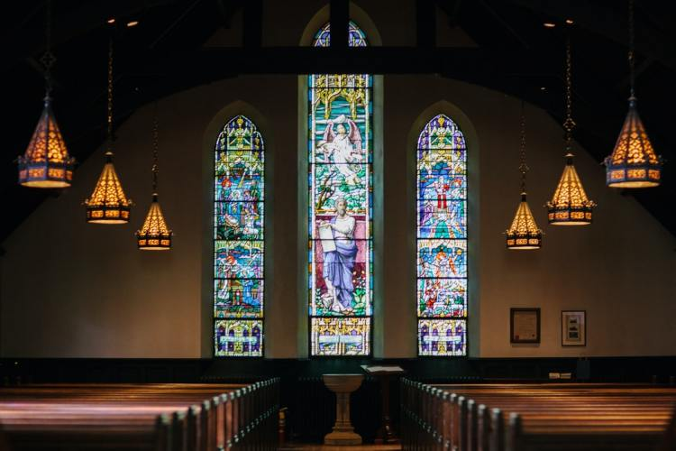 church pews and stained glass